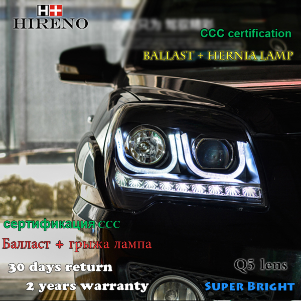Hireno Headlamp for 2007-2017 KIA Sportage Headlight Assembly LED DRL Angel Lens Double Beam HID Xenon 2pcs 2pcs purple blue red green led demon eyes for bixenon projector lens hella5 q5 2 5inch and 3 0inch headlight angel devil demon