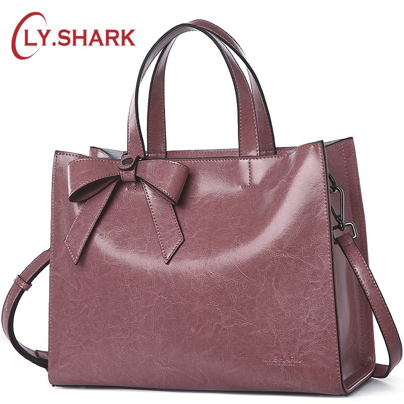 LY.SHARK Genuine Leather Messenger Bag Women Handbag Crossbody Bag For Women Shoulder Bags Female Briefcase Ladies Tote Bag Bow zency new women genuine leather shoulder bag female long strap crossbody messenger tote bags handbags ladies satchel for girls