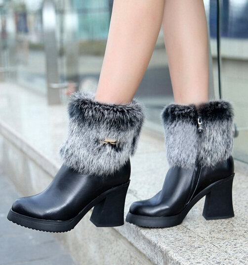 Winter Women Thick High Heel Platform Genuine Leather Rabbit Fur Buckle Round Toe Side Zip Ankle Snow Boots Size 34-39 SXQ0818 nemaone women ankle boots winter genuine nubuck leather black thick heel 12cm super high heels platform round toe shoes