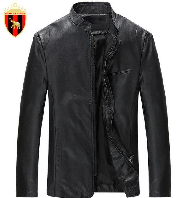 RICHARD ROGER Men's Leather Jackets Spring Black Leather Jacket For Men Faux Leather Coats Loose Big Size PU Jackets Overcoats