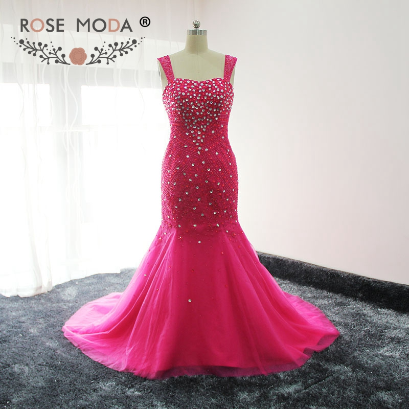 Rose Moda Cap Sleeves Hot Pink Crystal Beaded Mermaid Prom Dress Lace Up Back Real Photos