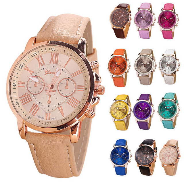 2018 Fashion Candy Color Roman Numerals Round Dial Couple Watches PU Band Analog