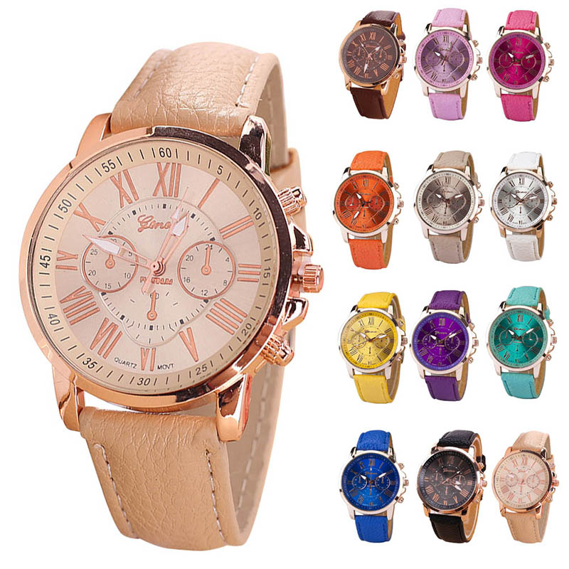 Fashion Candy Color Roman Numerals Round Dial Couple Watches PU Band Analog Quartz Watch Wrist Watches For Men Women JL