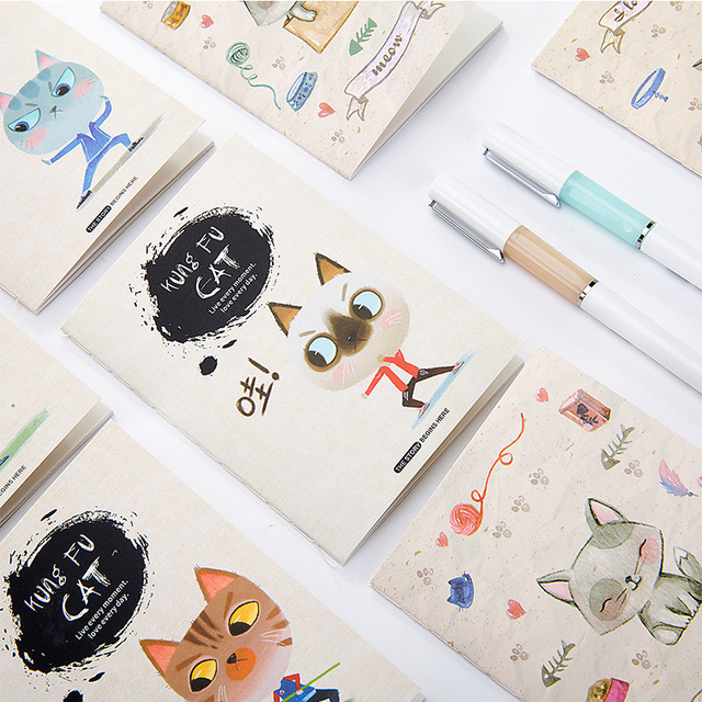 1pc Kawaii Cat Print Cover Color Page Mini Notebook Diary Notepad Travel Book Office And School