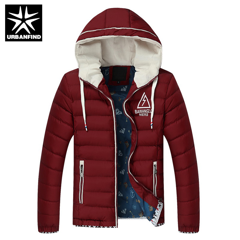 ФОТО URBANFIND Men Casual Hooded Coats Autumn Winter Jacket Large Size L-4XL Cotton Padded Man Warm Outerwear 5 Colors