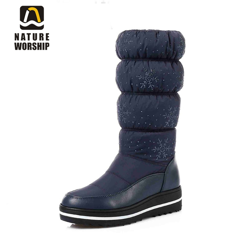 Big size 35-44 women boots mid calf Platform winter boots warm fur waterproof snow boots for woman snowflake down winter shoes цена