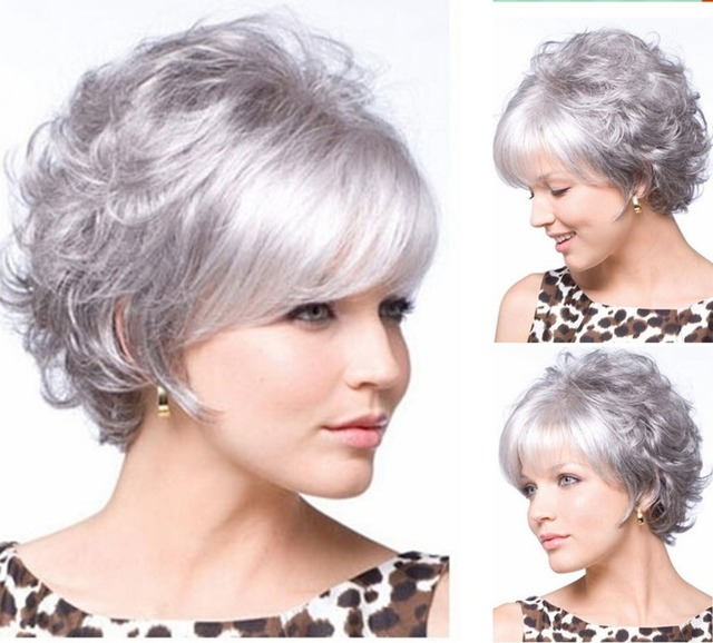 New Stylish Perruque Synthetic wigs Short Curly hair Silver White wig  for women Glamorous Fashion Hot sale