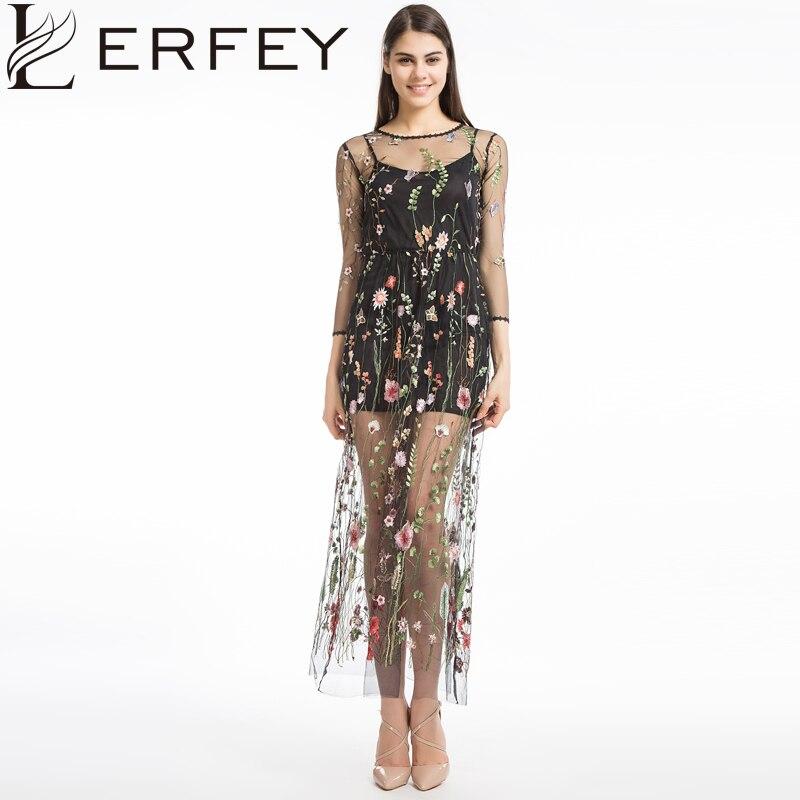 c324ef6612 LERFEY Flor Bordado de Las Mujeres Vestido Ocasional Del Verano de Dos  Piezas de Malla Maxi