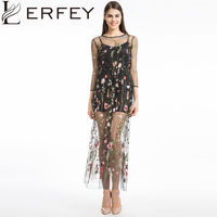 LERFEY Women Embroidery Flower Casual Dress Summer Two Piece Mesh Maxi Dress Black Dresses Long Sexy