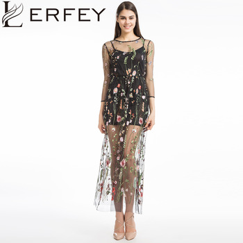 LERFEY Women Embroidery Flower Casual Dress Summer Two Piece Mesh Maxi Dress Black Dresses Long Sexy Dress Clothing Vestidos Платье