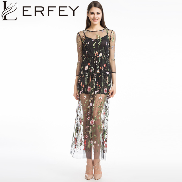 Lerfey Women Embroidery Flower Casual Dress Summer Two Piece Mesh Maxi Black Dresses Long Y