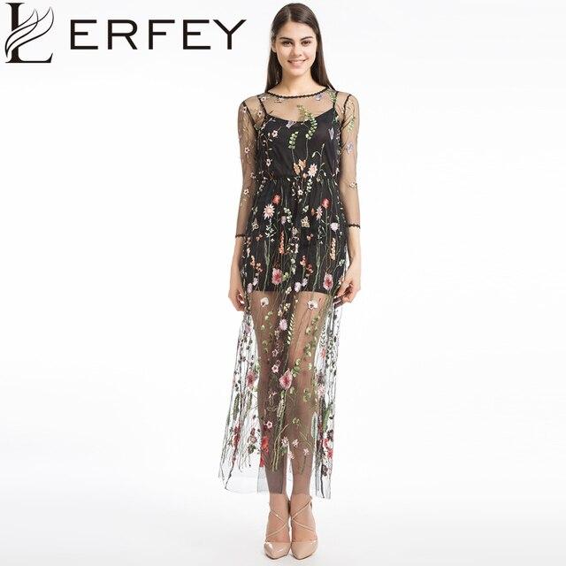 c245d4102 Lerfey المرأة التطريز زهرة فستان عارضة الصيف قطعتين شبكة فساتين طويلة ماكسي  فستان أسود مثير اللباس