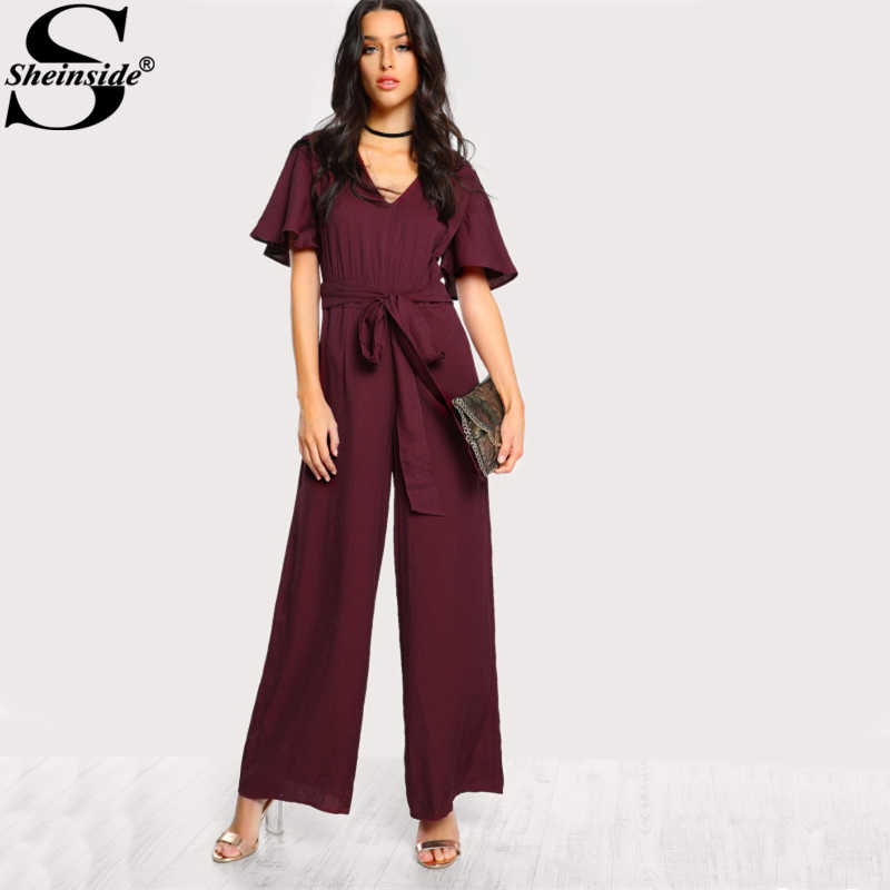 f37bc37b4513 Sheinside Sexy Choker Neck Self Tie Bow Belt Palazzo Jumpsuit 2017 Ladies  Burgundy V neck Short