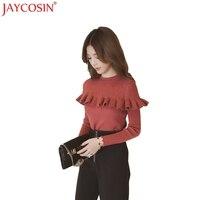 JAYCOSIN פטרייה שחורה אחיד מופע סרוג סוודרי נשים 2017 חדש חג המולד חורף אופנה חולצות סוודרים Nev6 Shiping חינם