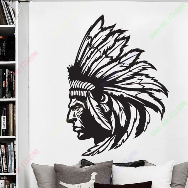 New Redskin Native American Indian Chief Wall Decal Sticker Decor Wall Art  Vinyl Home Decor Wall