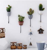 2018 New Style wall decoration plant shape metal hanger hooks/ hats organizer rack/key holder