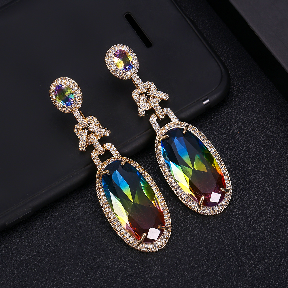 Trendy Luxury Famous Design Cubic Zirconia Women Dangle Earrings for Wedding Tassel Earrings pendientes mujer mod 2018