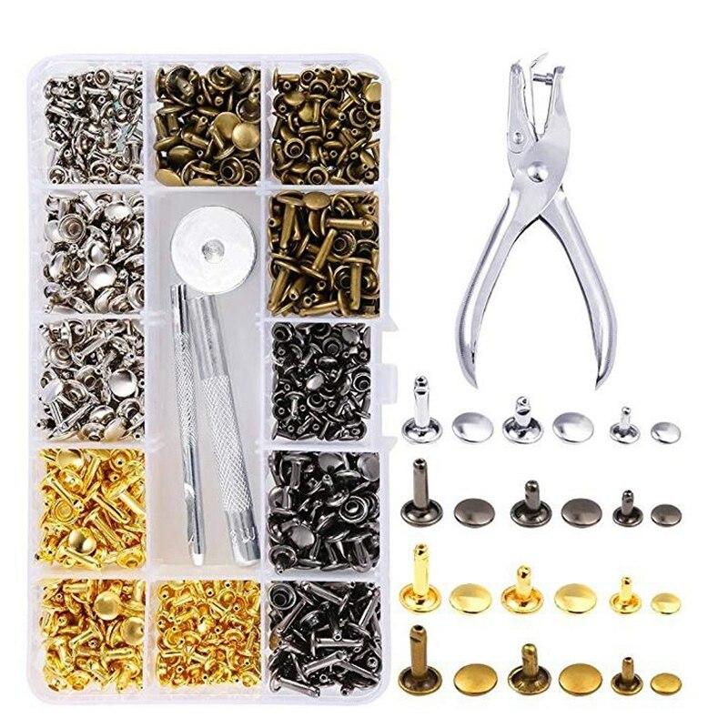 360 pièces 3 tailles Rivets en cuir Double capuchon Rivet tubulaire goujons en métal avec 4 outils de fixation pour artisanat cuir bricolage, 4 couleurs (Go