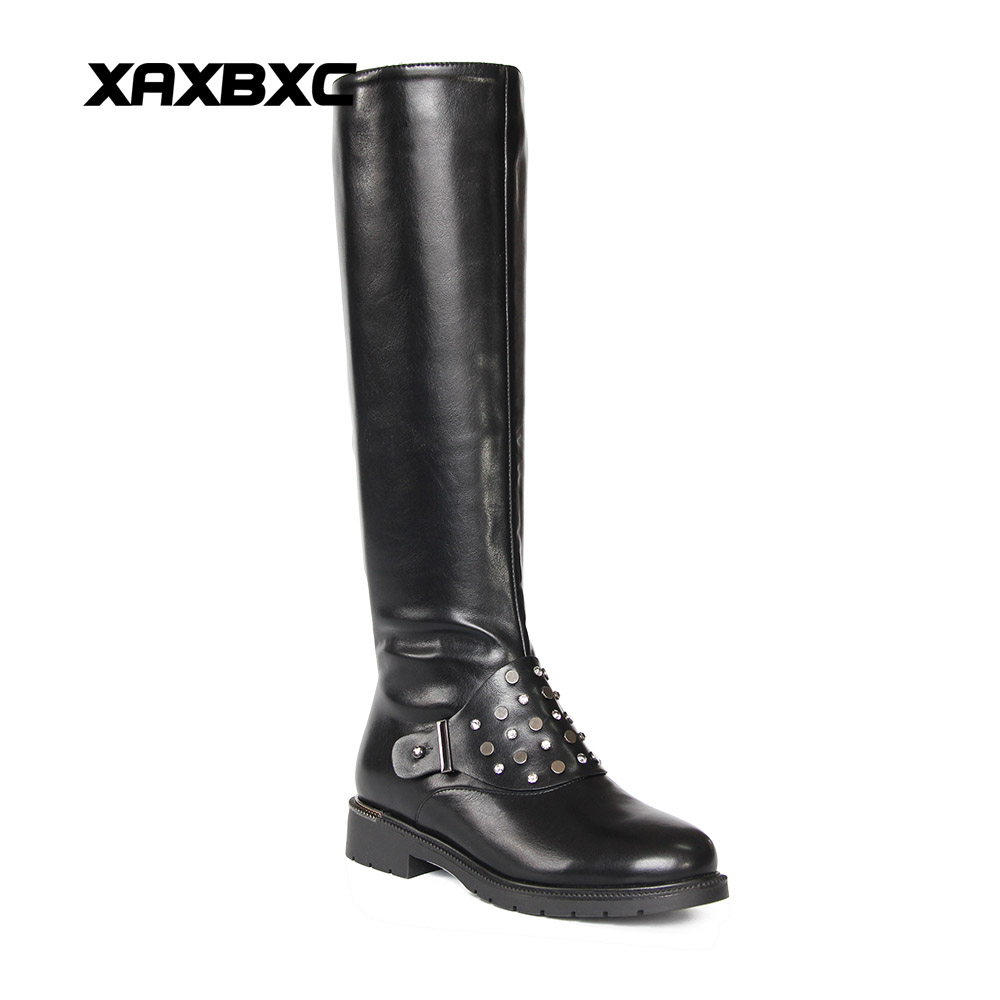 XAXBXC 2017 Winter Black PU Leather Simple Crystal Bling Lining Flat Heel Long Boots Warm Women Boots Handmade Casual Lady Shoes black women boots flat heel casual