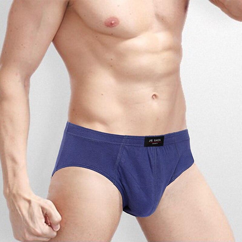 4 Pieces lot Breathable Cotton Male Underwear 2019 Briefs Men Plus Size Bodysuit Comfortable Slip Solid Sexy U Convex Underpants in Briefs from Underwear Sleepwears
