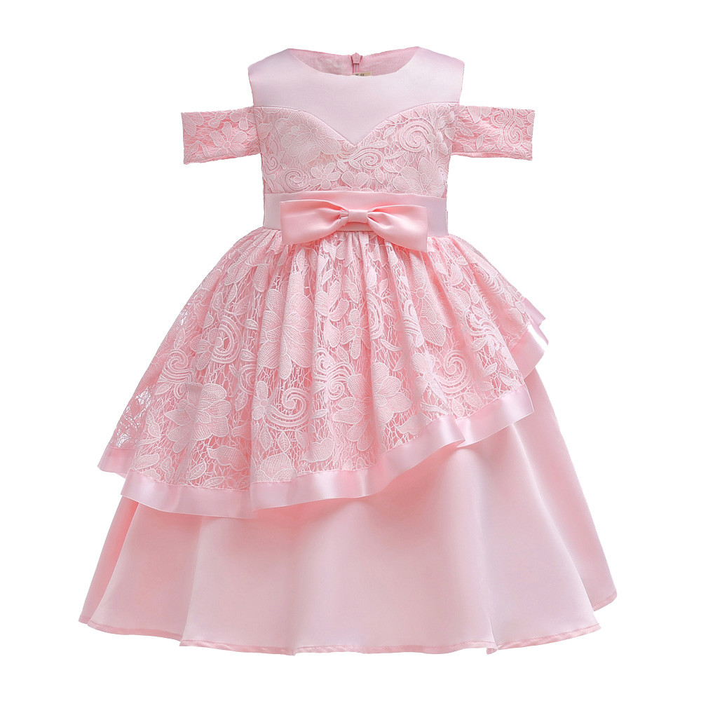 Baby Girls Gowns Dresses Sleeveless Flowers Bows Lace Irregular Princess Bridesmaid Pageant Gown Birthday Party Wedding Dress