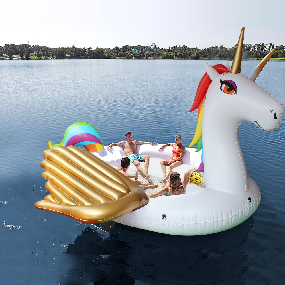 6 Person Giant Inflatable Gold Unicorn Water Pool Floats