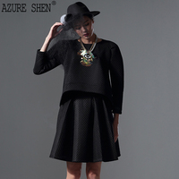 [AZURESHEN] New Summer 2018 Fashion Tailor made Loose Casual Hollow Out Top + A Line BlackSkirts Two Pieces Set women AZ26