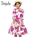 Sisjuly vintage dress women floral rose print party dresses style women 1950s rockabilly dress vestido de festa vintage dresses
