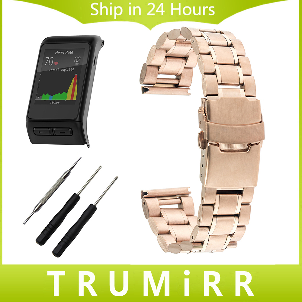 24mm Stainless Steel Watchband for Garmin Vivoactive HR GPS Sport Watch Band Safety Clasp Strap Wrist Bracelet Black Gold Silver silicone watchband strap with pins for garmin vivoactive hr sports gps smart watch with tools