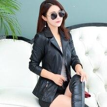 2017 autumn sheepskin leather clothing female leather jacket short outerwear motorcycle design Moto jaqueta de couro