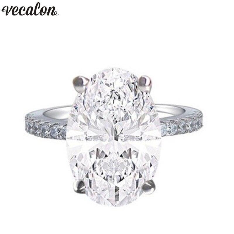 Vecalon Dazzing 925 Sterling silber Engagement Ring oval cut 4ct AAAAA Zirkon Cz Hochzeit band ringe für frauen Finger Schmuck