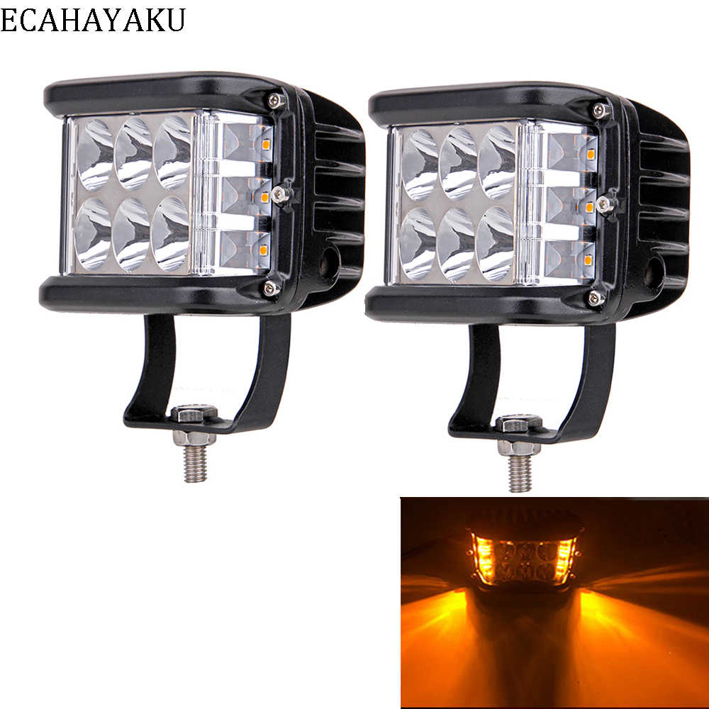 2Pcs ECAHAYAKU For Jeep Car Led Bar 4Inch 60W Led Pods Driving Fog OffRoad LED Work Light Styling Side Shooter Offroad Truck SUV