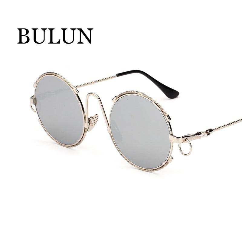 Bulun 2016 Metal Steampunk óculos mulheres homens marca Designer Vintage  Multicolor espelho óculos De Sol UV Oculos De Sol Feminino 433e52f89e