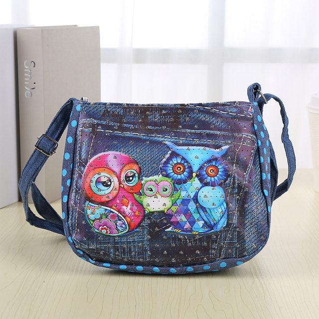 21357b42f6ce Cartoon Kids Children Mini Messenger Bags Girl Denim Owl Printing School  Bag Satchel for Girls Crossbody