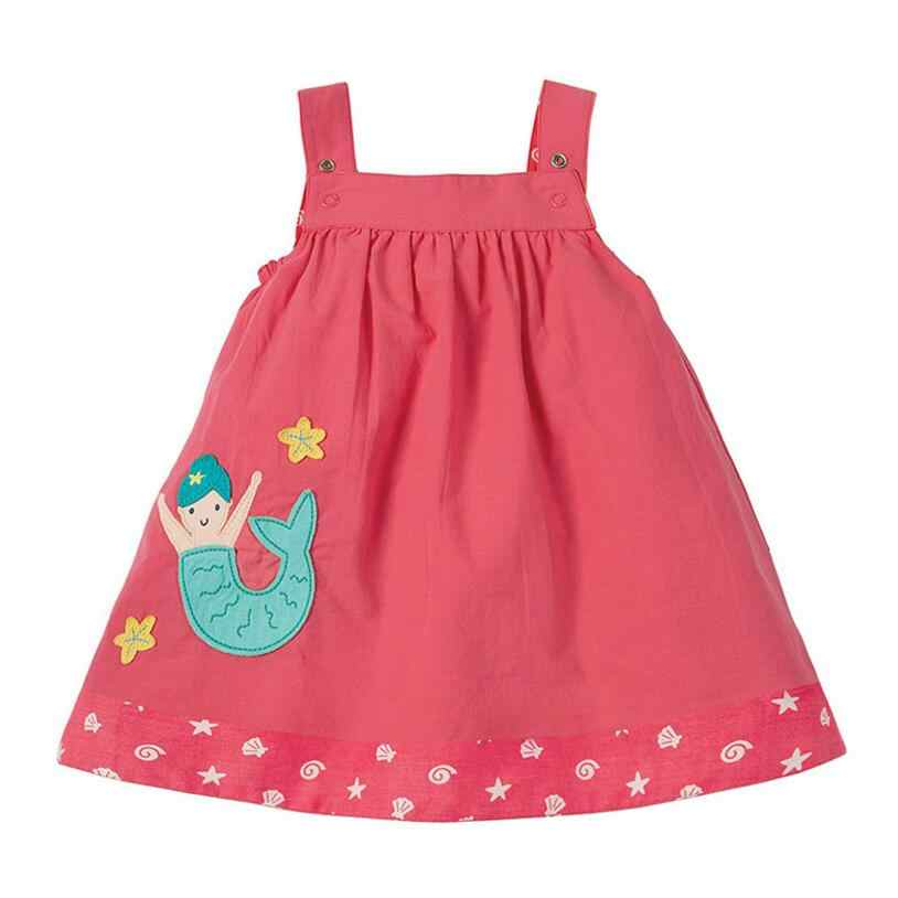 Little maven/2019 г. Новая летняя одежда для маленьких девочек Брендовое платье Детская Хлопковая нашивка короткие рукава, платья-слипоны S0491