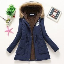 Płaszcz kobiety gruby płaszcz zimowy ciepłe z kapturem kieszenie Slim Faux futro Parka kurtka kobiet 6