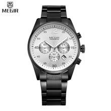 MEGIR Men Full Steel Watches Multifunction Military Watch Chronograph Water Resistant Function Watch Watch Relogio Masculino