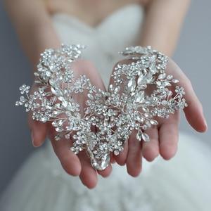Image 4 - Роскошный хрустальный свадебный головной убор заколки для волос лоза Стразы Цветочные Свадебные аксессуары для волос украшения для волос невесты 2019