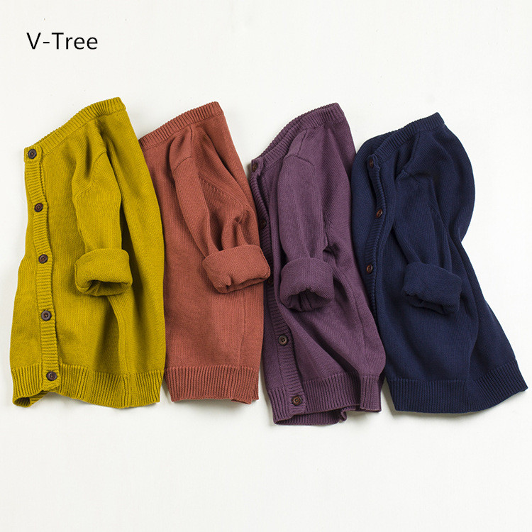 V-TREE Girls Sweaters Baby 100% Cotton Sweaters Children Cardigan Knitted Coats For Spring Autumn Winter Toddlers Solid Clothes