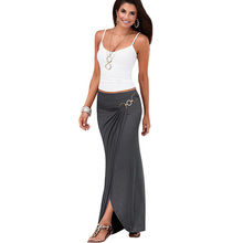 Vfemage Womens Summer Elegant Vintage Ruched Draped Asymmetric Metal Ring High Waist Casual Party Beach Fitted Long Skirt 2699(China)