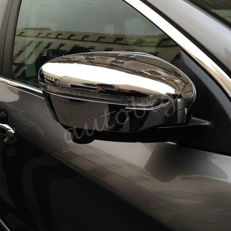 Prix pour Triple Chrome couverture miroir de côté extérieur retour rétroviseur vue arrière garnitures pour 2014 - 2016 Nissan Qashqai J11