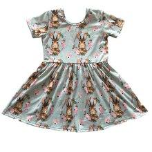 wholesale bulk girls ruffle frock design bunny pattern holid