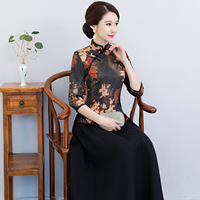 Traditional Handmade Button Chinese Woman Tang Top Classic Print Floral Shirt Elegant Slim Blouse Performance Clothings