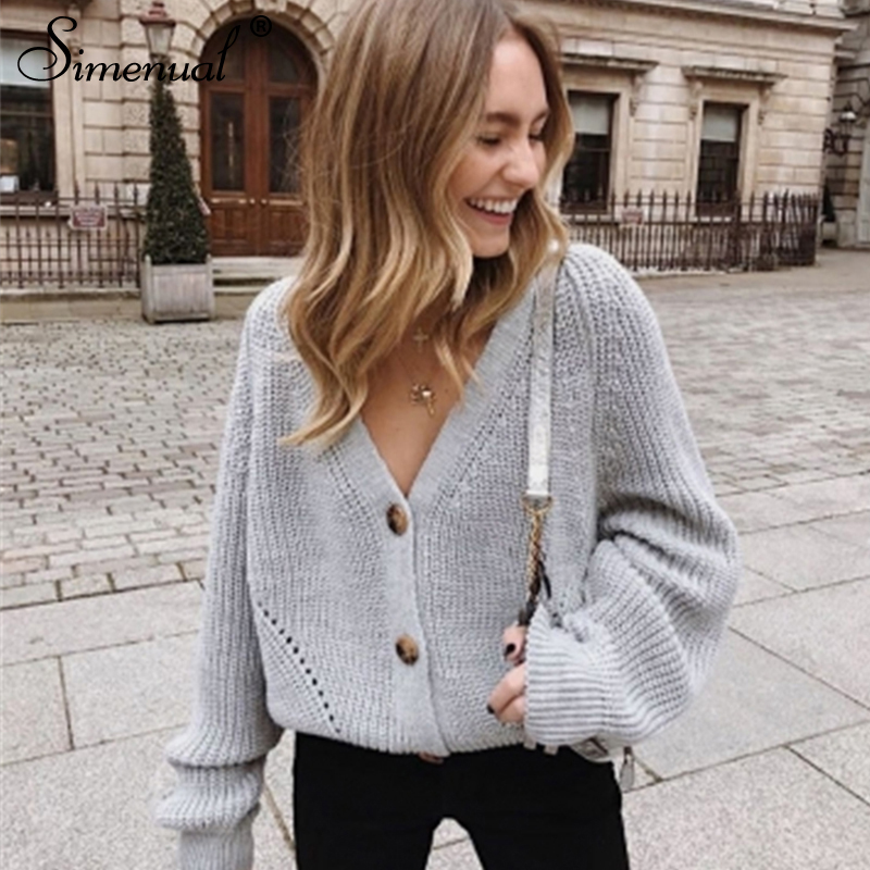 Ultimate SaleSimenual Knitted Cardigans Button V-Neck sweater Winter Jumpers Long-Sleeve Autumn Fashion