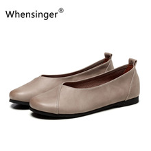 Whensinger – 2016 Autumn New Women Genuine Leather Shoes Slip On Flats Round Toe Rubber Sole Size 34-41 2 Colors F925