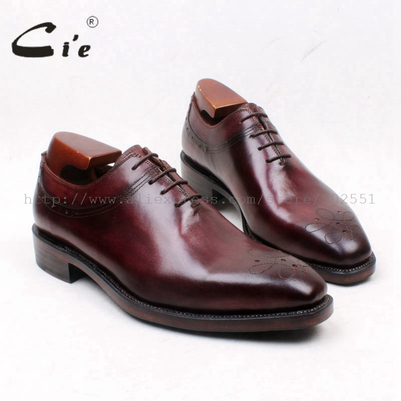 cie Square Toe Patina Brown Lace-Up Oxfords 100%Genuine Calf Leather Bottom Outsole Breathable Men's Flat Shoe Dress/CasualOX665 cie square toe whole cut patina brown lace up100
