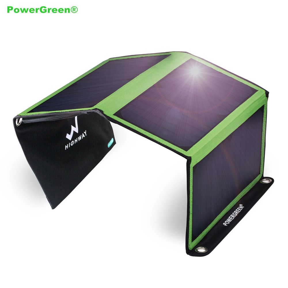 Chargeur solaire pliable de charge rapide de batterie externe de panneau solaire de PowerGreen 21 W double sac solaire de Ports pour camper pour le voyageChargeur solaire pliable de charge rapide de batterie externe de panneau solaire de PowerGreen 21 W double sac solaire de Ports pour camper pour le voyage