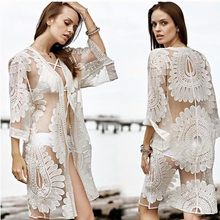 Baodilang Pareo Pantai Menutupi Bunga Bordir 2018 Bikini Swimsuit Sampul Up Robe De Plage Pantai Kardigan Musim Panas Bathing Gugatan(China)