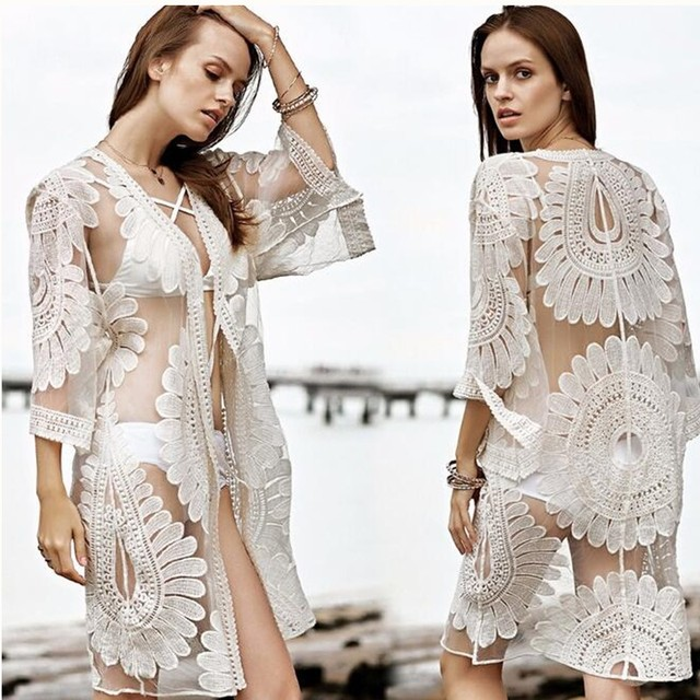 b31388a8b Baodilang Pareo Beach Cover Up Floral Embroidery 2018 Bikini Swimsuit Cover  Up Robe De Plage Beach Cardigan Summer Bathing Suit