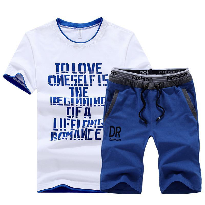 Summer T-Shirt Set Men Cotton Casual Outwear Hot Sale Tracksuits Hip Hop Brand Clothing T Shirt Set Men 2 Pieces Tracksuit
